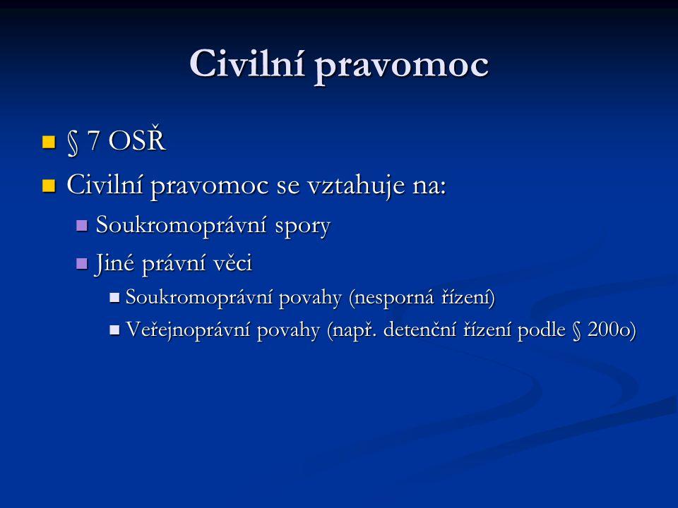 Civilní pravomoc § 7 OSŘ Civilní pravomoc se vztahuje na: