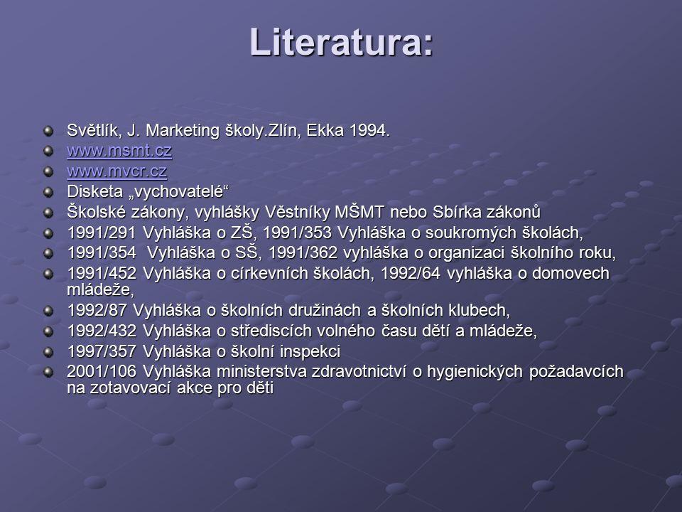 Literatura: Světlík, J. Marketing školy.Zlín, Ekka 1994. www.msmt.cz