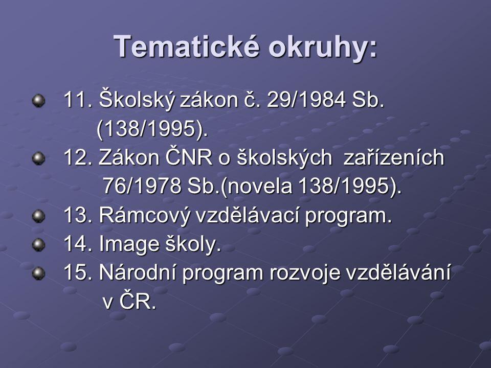 Tematické okruhy: 11. Školský zákon č. 29/1984 Sb. (138/1995).