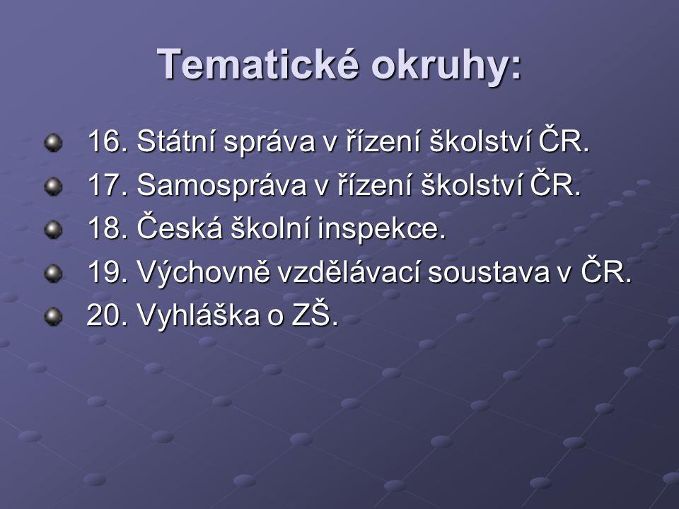 Tematické okruhy: 16. Státní správa v řízení školství ČR.