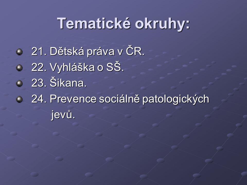 Tematické okruhy: 21. Dětská práva v ČR. 22. Vyhláška o SŠ.