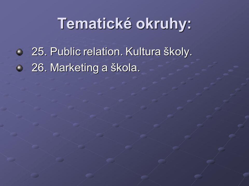 Tematické okruhy: 25. Public relation. Kultura školy.