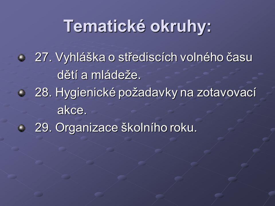 Tematické okruhy: 27. Vyhláška o střediscích volného času