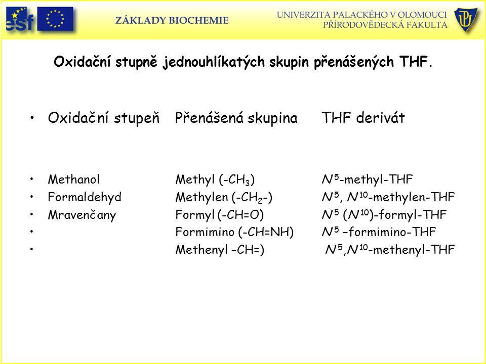 Oxidační stupně jednouhlíkatých skupin přenášených THF.