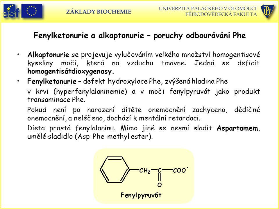 Fenylketonurie a alkaptonurie – poruchy odbourávání Phe