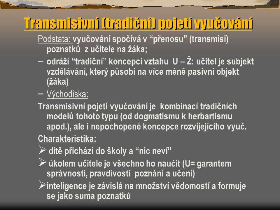 Transmisivní (tradiční) pojetí vyučování