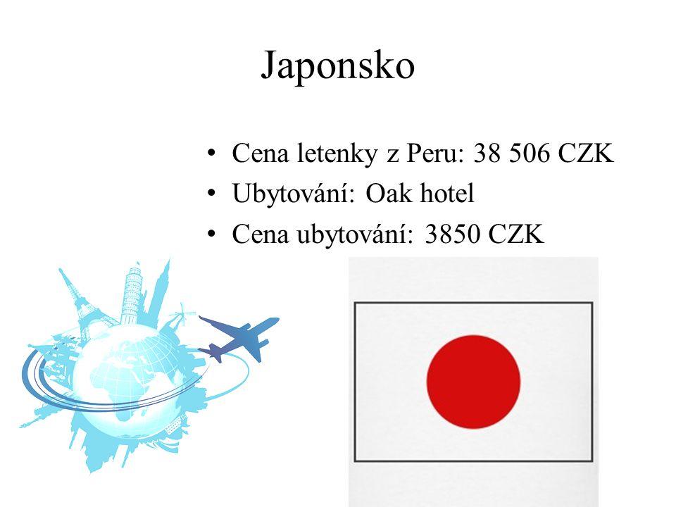 Japonsko Cena letenky z Peru: 38 506 CZK Ubytování: Oak hotel