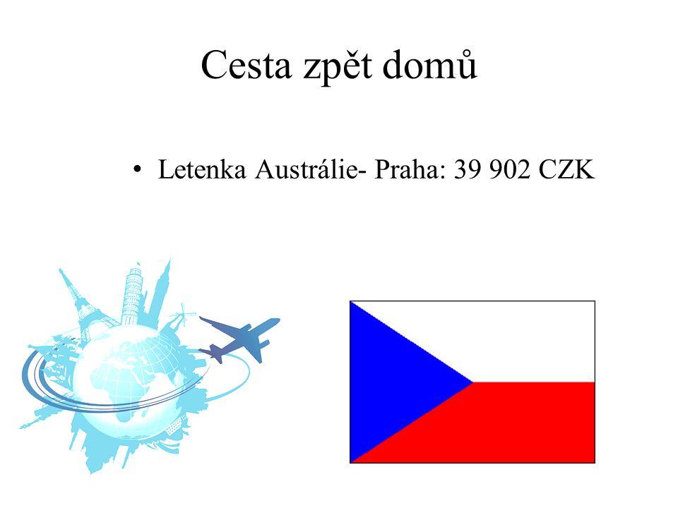 Cesta zpět domů Letenka Austrálie- Praha: 39 902 CZK