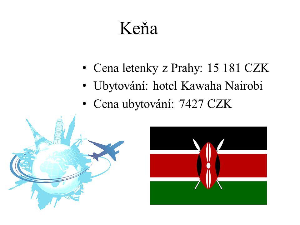 Keňa Cena letenky z Prahy: 15 181 CZK Ubytování: hotel Kawaha Nairobi