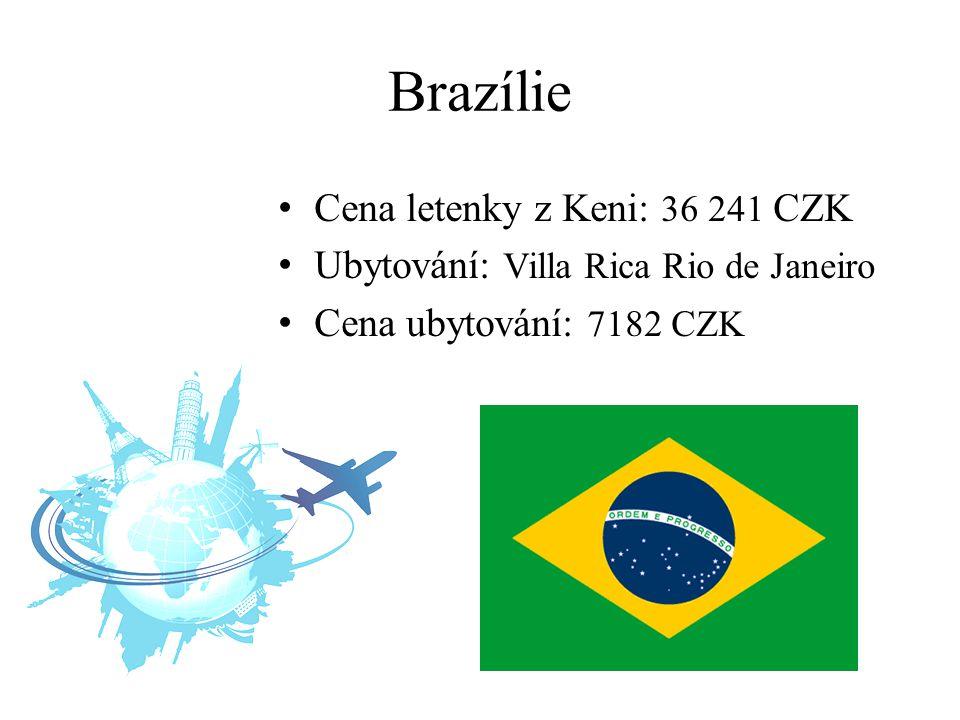 Brazílie Cena letenky z Keni: 36 241 CZK