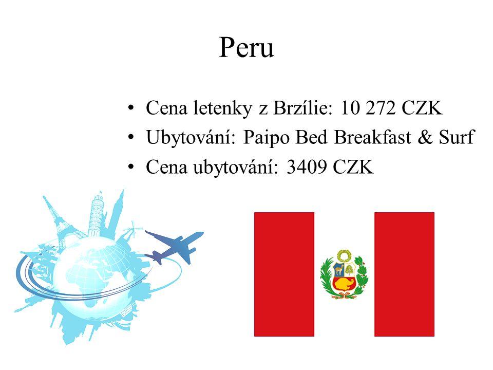 Peru Cena letenky z Brzílie: 10 272 CZK