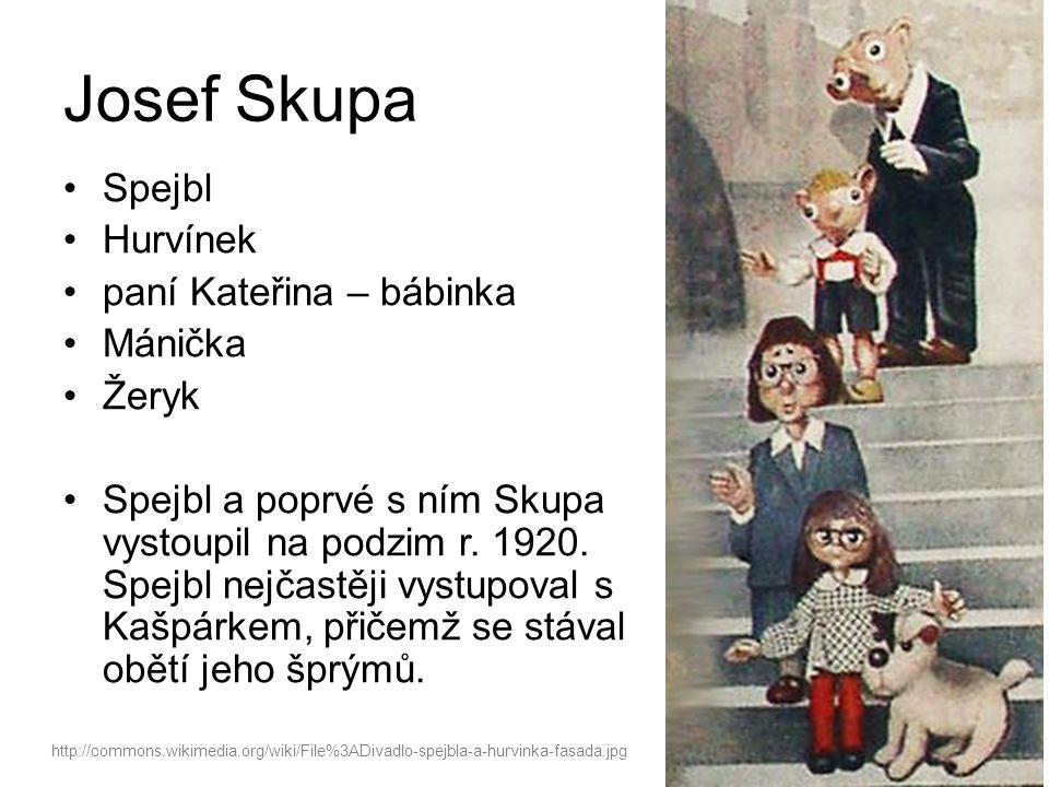 Josef Skupa Spejbl Hurvínek paní Kateřina – bábinka Mánička Žeryk