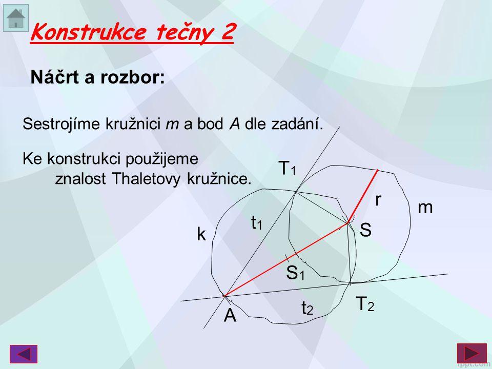 Konstrukce tečny 2 Náčrt a rozbor: T1 r m t1 S k S1 T2 t2 A