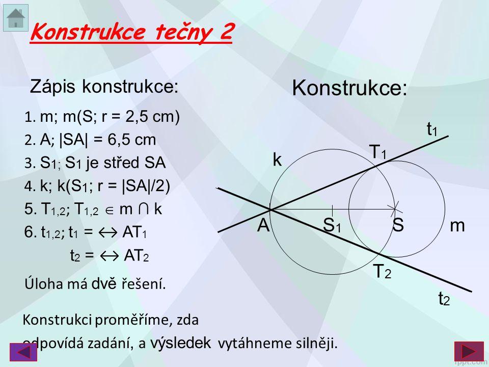 Konstrukce tečny 2 Konstrukce: Zápis konstrukce: t1 T1 k A S1 S m T2