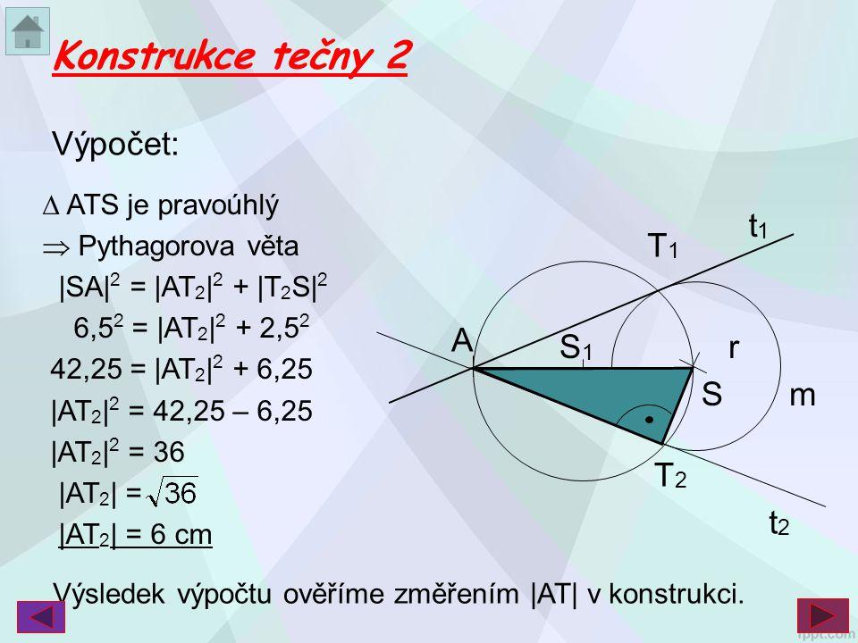 Konstrukce tečny 2 Výpočet: t1 S r A S1 T2 T1 m t2  ATS je pravoúhlý