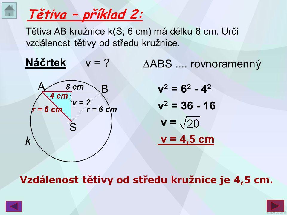 Tětiva – příklad 2: Náčrtek v = ∆ABS .... rovnoramenný A B