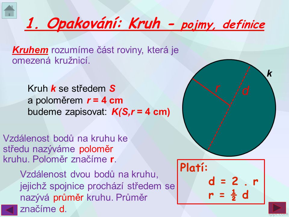 S 1. Opakování: Kruh - pojmy, definice r d Platí: d = 2 . r r = ½ d