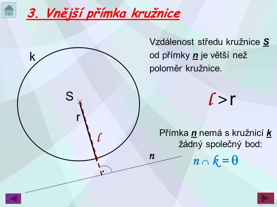 Přímka n nemá s kružnicí k žádný společný bod: