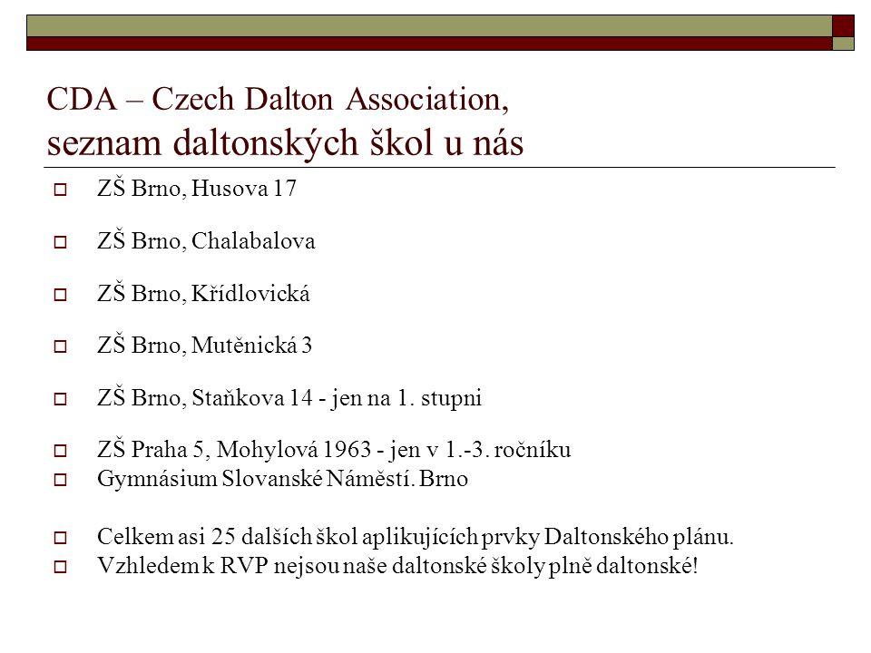 CDA – Czech Dalton Association, seznam daltonských škol u nás