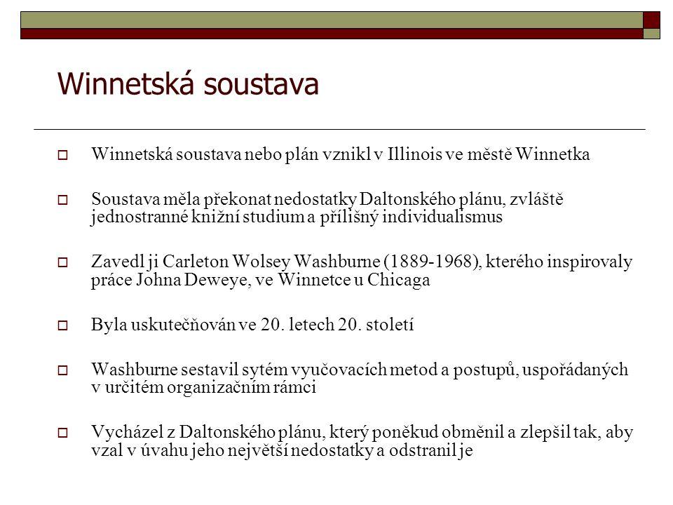 Winnetská soustava Winnetská soustava nebo plán vznikl v Illinois ve městě Winnetka.