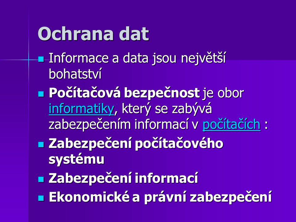Ochrana dat Informace a data jsou největší bohatství