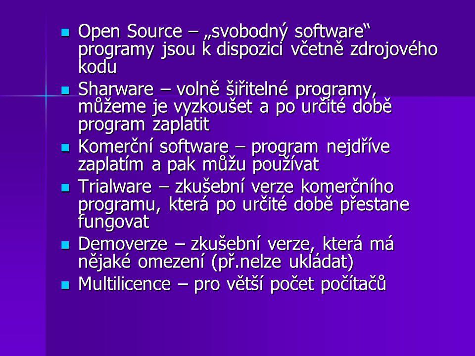 """Open Source – """"svobodný software programy jsou k dispozici včetně zdrojového kodu"""