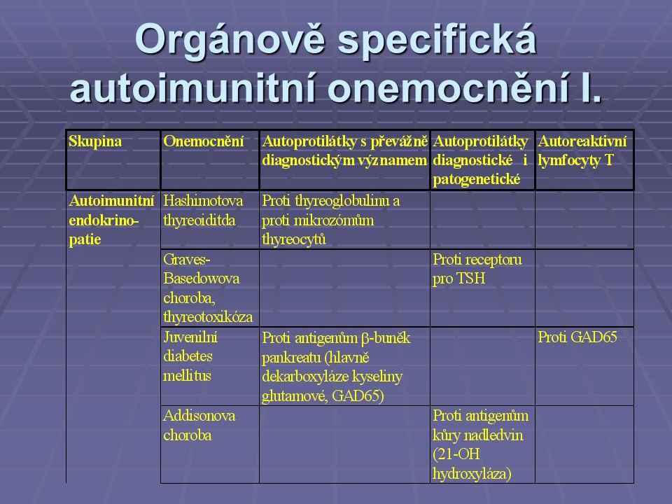 Orgánově specifická autoimunitní onemocnění I.