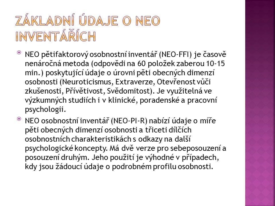 Základní údaje o NEO inventářích