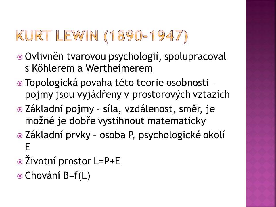 Kurt Lewin (1890-1947) Ovlivněn tvarovou psychologií, spolupracoval s Köhlerem a Wertheimerem.