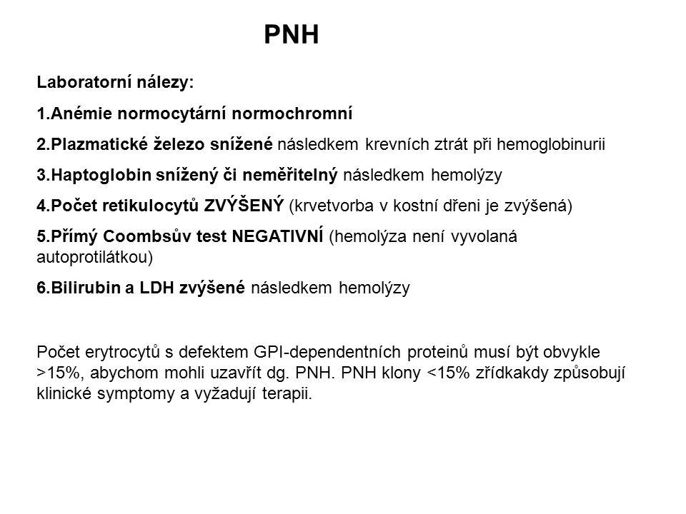 PNH Laboratorní nálezy: Anémie normocytární normochromní