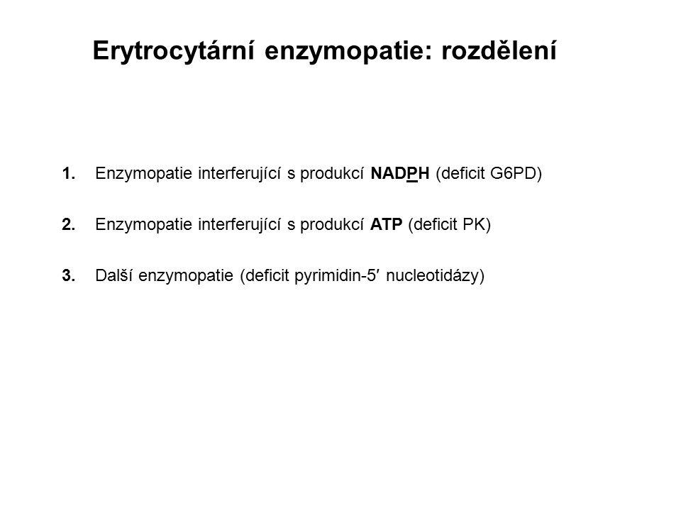 Erytrocytární enzymopatie: rozdělení