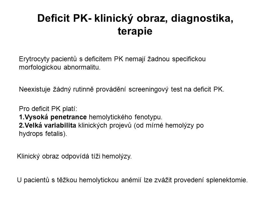 Deficit PK- klinický obraz, diagnostika, terapie