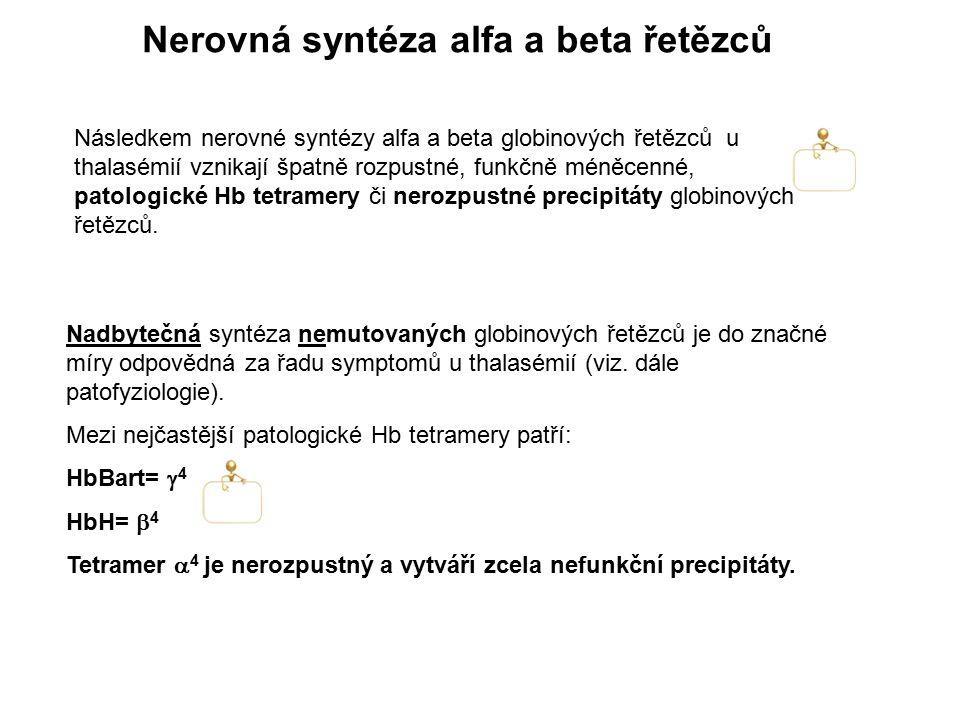 Nerovná syntéza alfa a beta řetězců