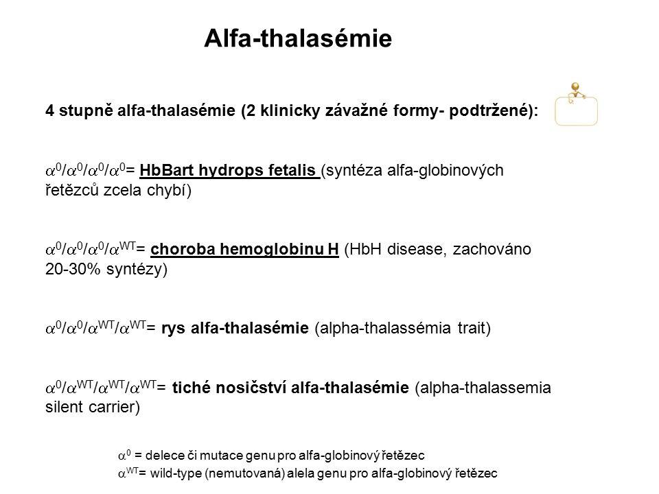 Alfa-thalasémie 4 stupně alfa-thalasémie (2 klinicky závažné formy- podtržené):