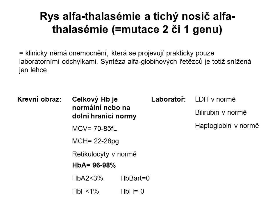 Rys alfa-thalasémie a tichý nosič alfa-thalasémie (=mutace 2 či 1 genu)