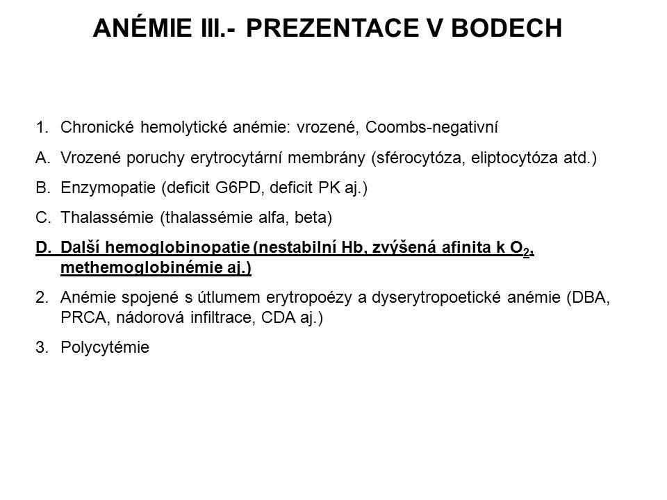 ANÉMIE III.- PREZENTACE V BODECH