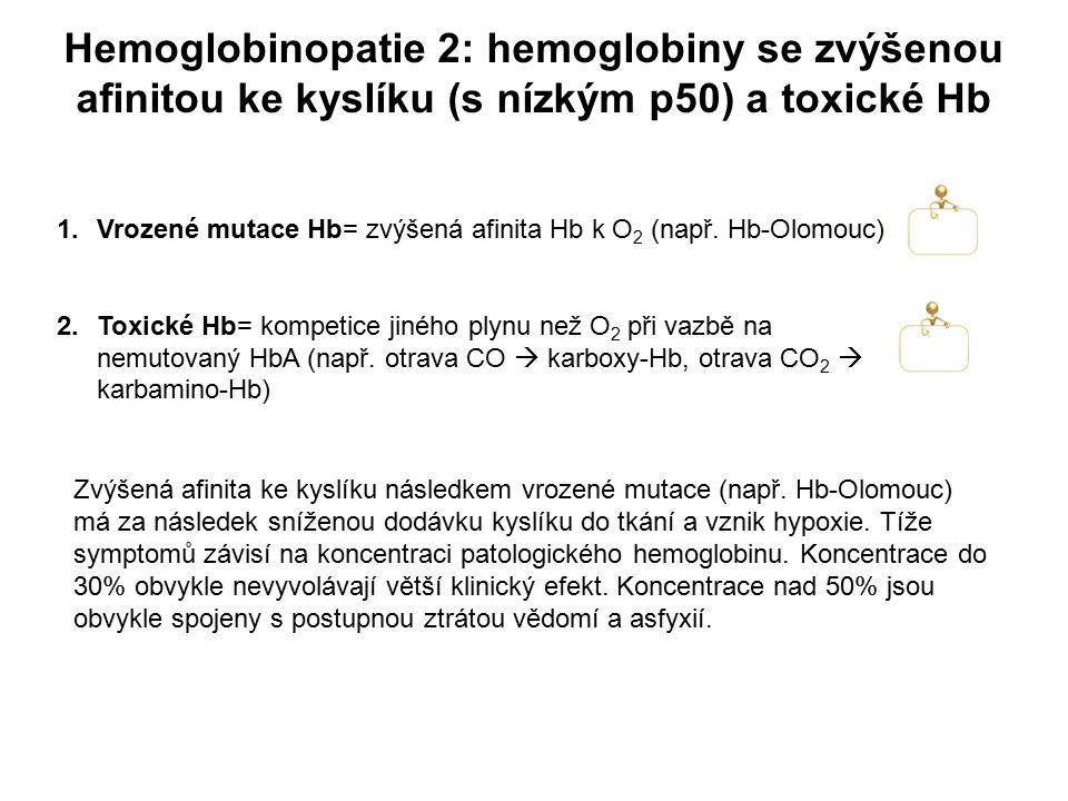 Hemoglobinopatie 2: hemoglobiny se zvýšenou afinitou ke kyslíku (s nízkým p50) a toxické Hb