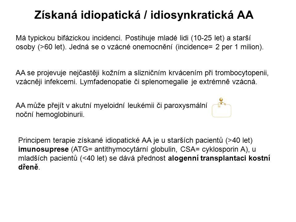 Získaná idiopatická / idiosynkratická AA