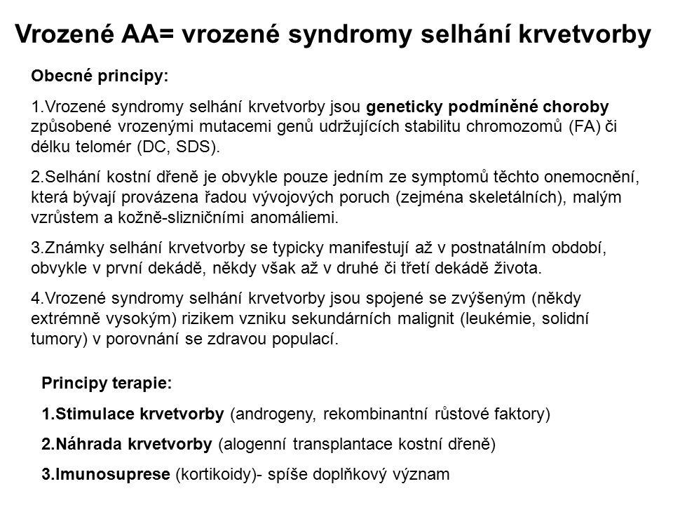 Vrozené AA= vrozené syndromy selhání krvetvorby