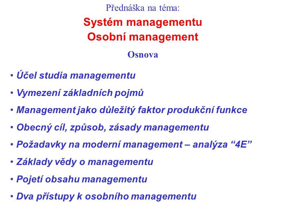 Systém managementu Osobní management