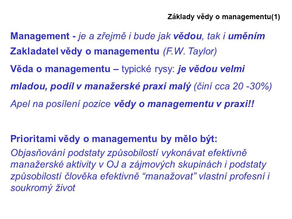 Management - je a zřejmě i bude jak vědou, tak i uměním