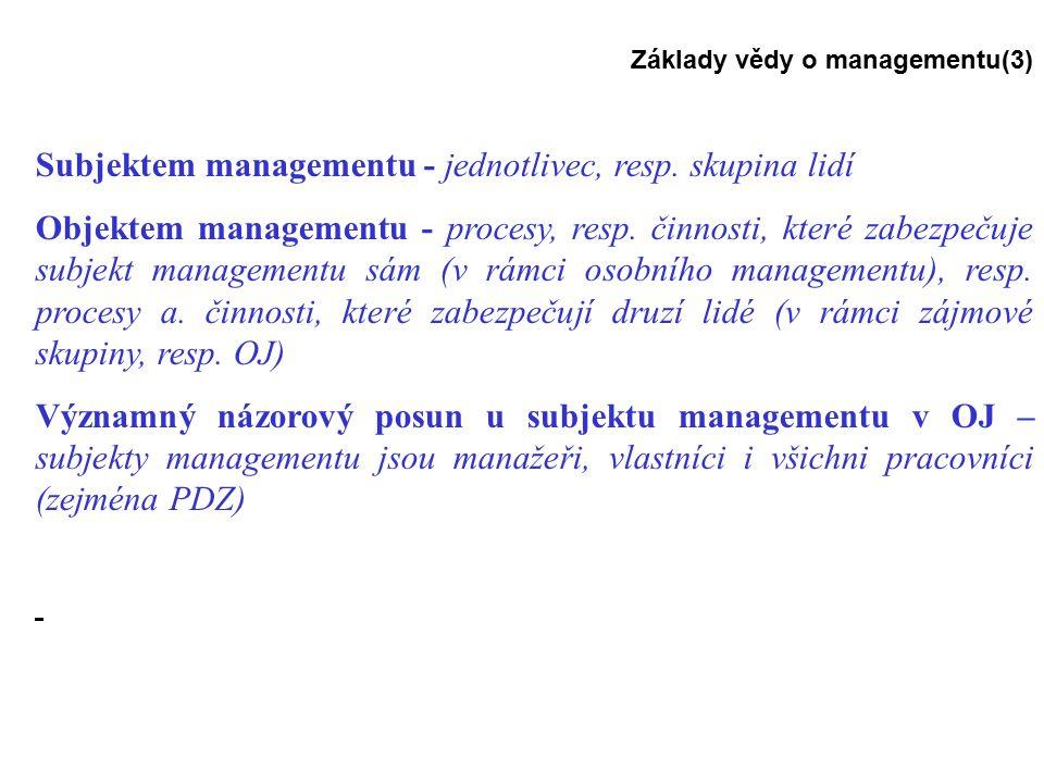 Subjektem managementu - jednotlivec, resp. skupina lidí