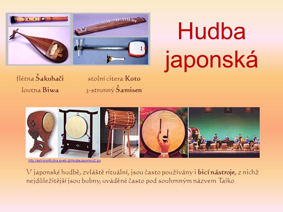 Hudba japonská flétna Šakuhači stolní citera Koto loutna Biwa