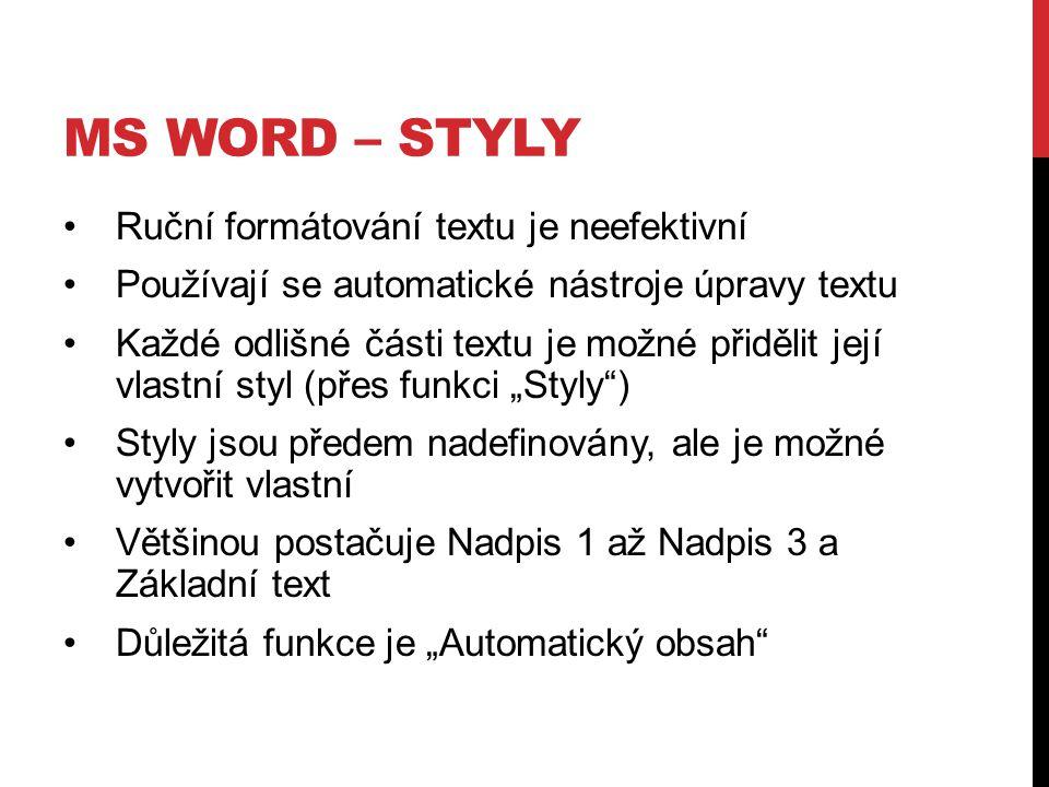 Ms word – styly Ruční formátování textu je neefektivní