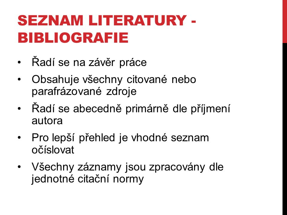 Seznam literatury - bibliografie