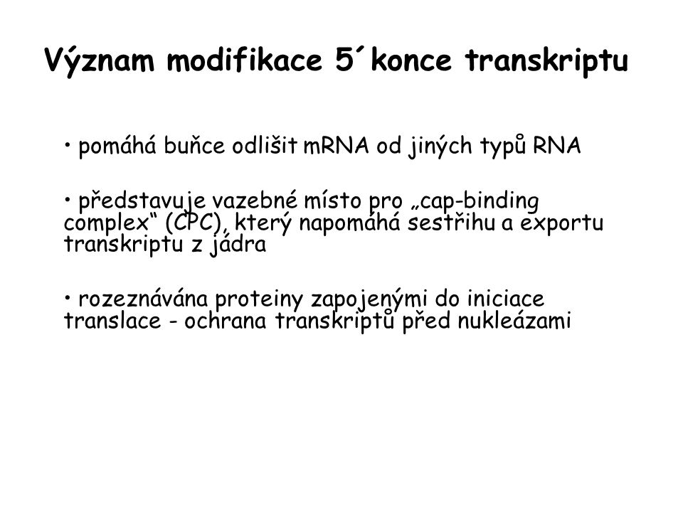 Význam modifikace 5´konce transkriptu