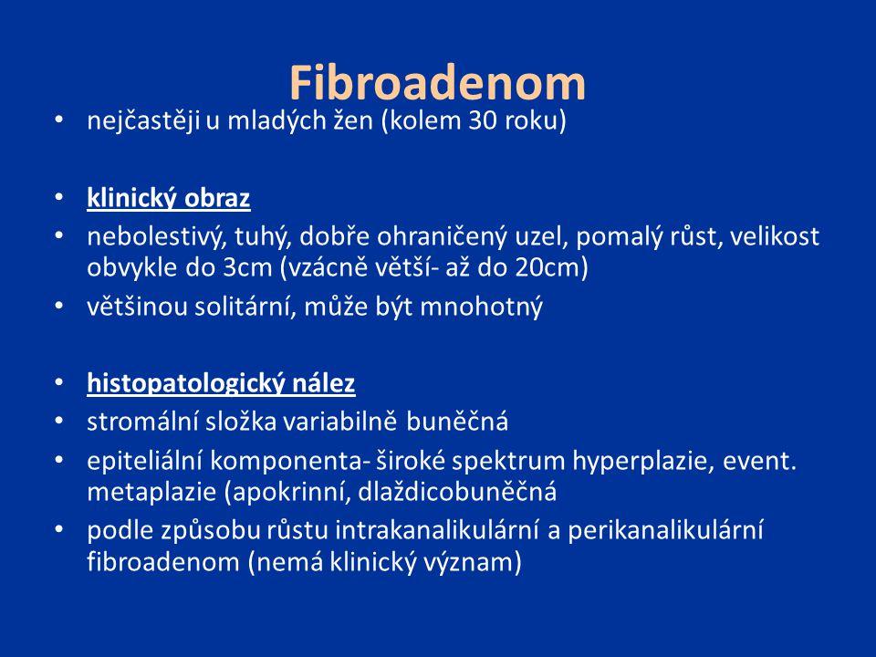 Fibroadenom nejčastěji u mladých žen (kolem 30 roku) klinický obraz