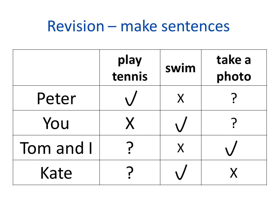 Revision – make sentences