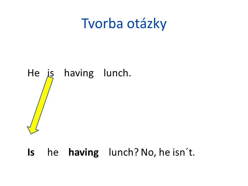 Tvorba otázky He is having lunch. Is he having lunch No, he isn´t.
