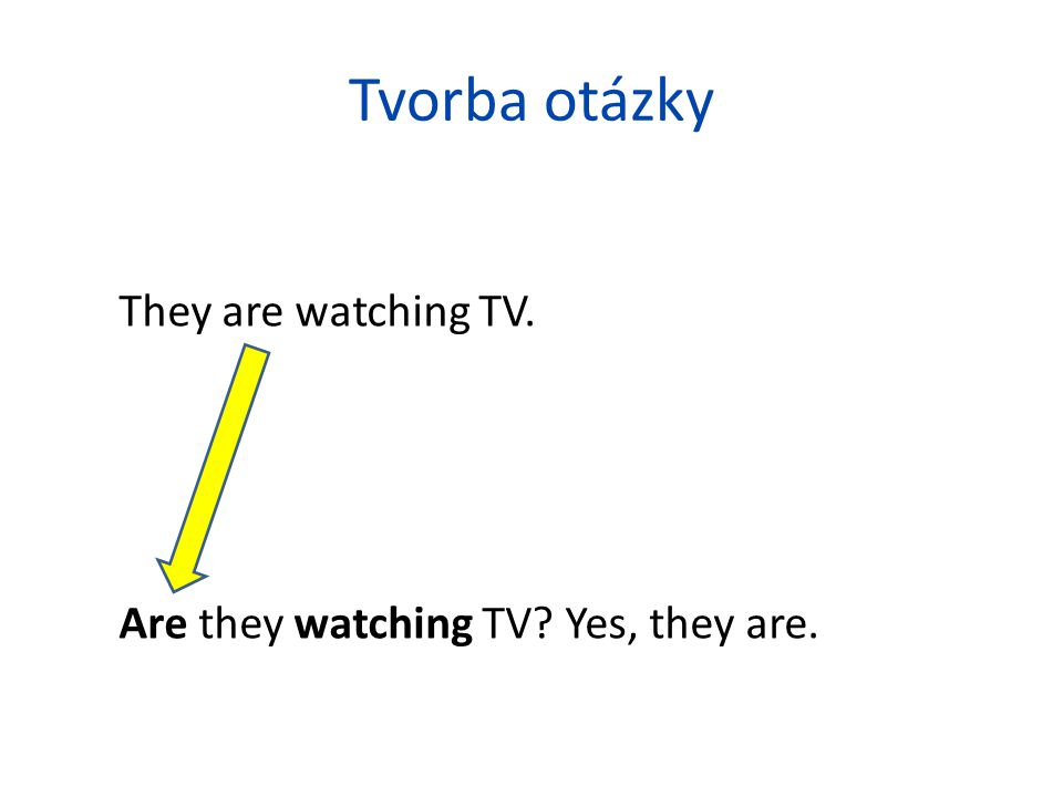 Tvorba otázky They are watching TV.